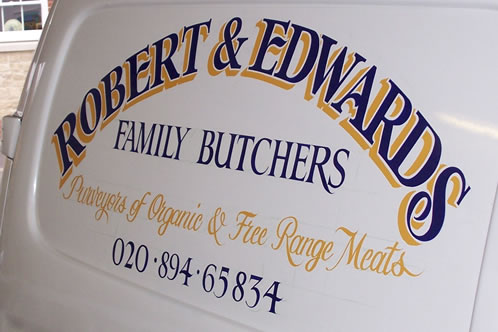 Hand painted butchers van sign