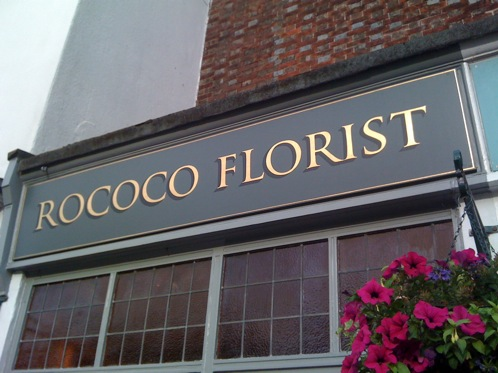 Gold Leaf Signboard With Dark Shade At Rococco Florists