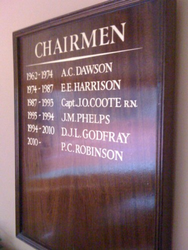 Hand painted and gilded lettered honours board