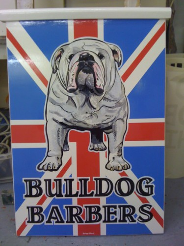 Barbers shop sign with painted pictorial