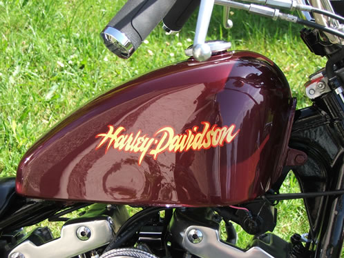 Custom painted and gilded Harley Davidson Motorcycle tank