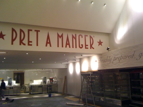Hand painted signwriting at Pret A Manger Restaurant and cafe, Bicester Village