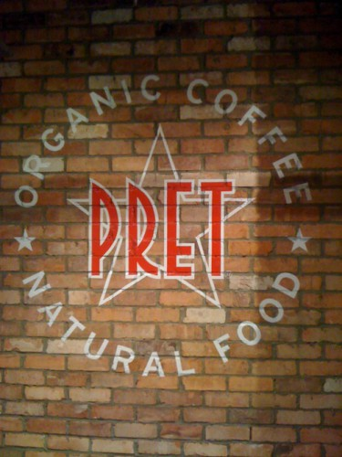 Pret a manger hand signwritten wall display