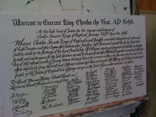 A signwritten replica of Death Warrant for Charles the First, for display at a pub