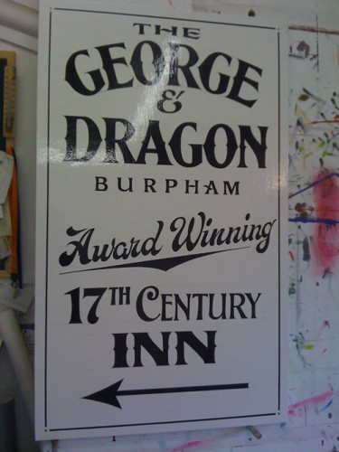 Traditional style pub signage