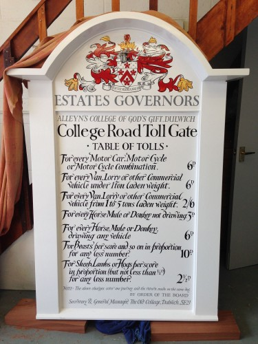 The completed Dulwich College traditional toll gate sign