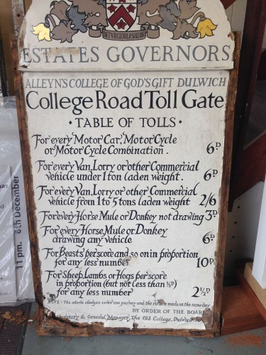 The original, historical, Dulwich College Estate toll gate sign