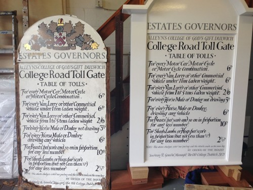 The original Dulwich College toll gate signboard with the new sign written replacement