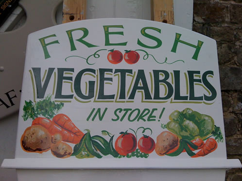 Hand painted pictorial shop sign