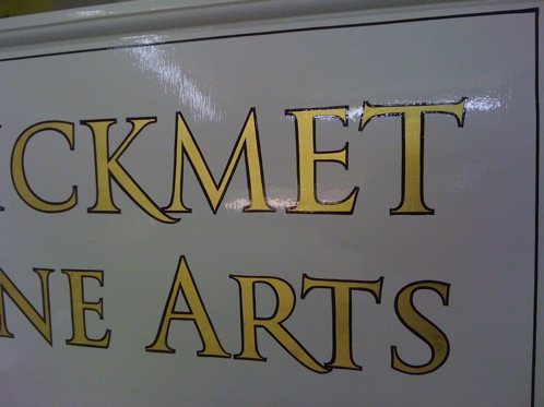 Hand painted Gold leaf lettering with a dark outline