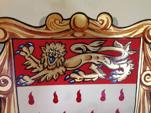 Close up of the hand painted lion in the Chichester coat of arms