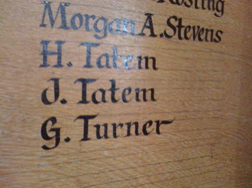 Hand painted signwritten honours board entries