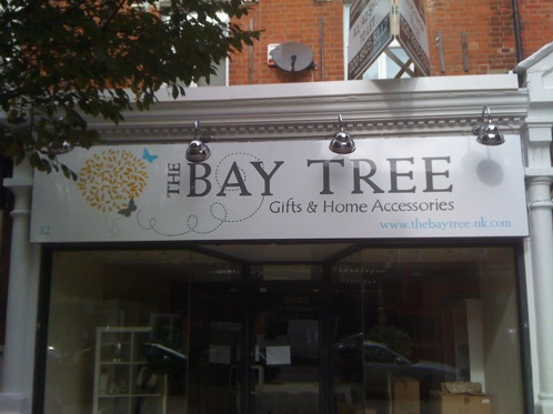 A contemporary hand painted shop front sign for this Chelmsford gift shop