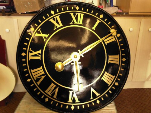 Restored church Gold leaf clock face