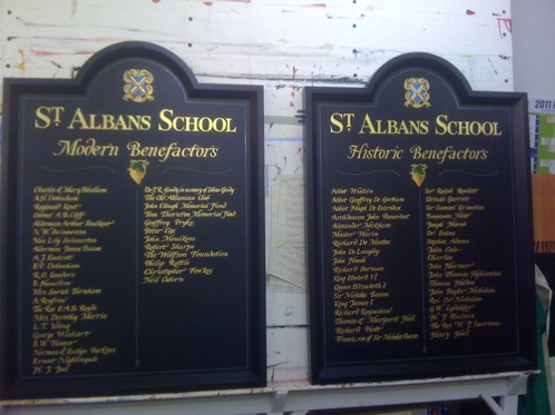 School honours and scholarships boards with gold leaf signwriting