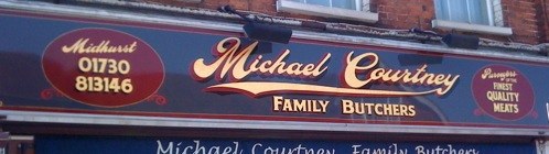 Traditional style signwritten butchers shop sign