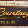 Traditional Gold leaf lettering with shadow and shade, Used for a family Butchers shop.