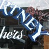 Reverse painted Lettering on glass butchers shop window