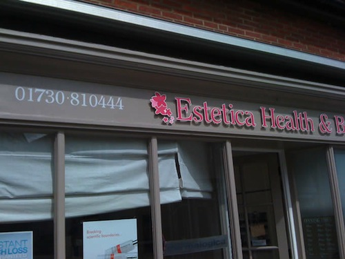 Re-sign of Estetica Health and Beauty, Midhurst